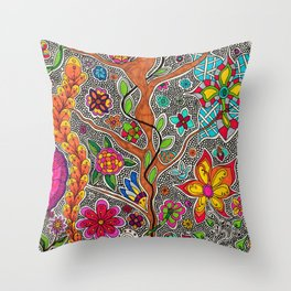 Trees and Flowers zentangle Throw Pillow