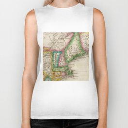 Vintage Map of New England (1822) Biker Tank