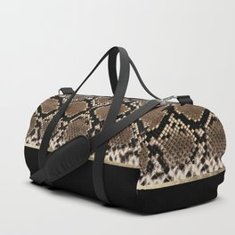Modern black brown gold snake skin animal print Duffle Bag