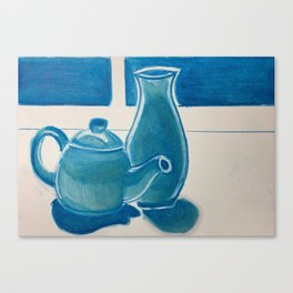 Tea Pot and Vase in Blue Canvas Print
