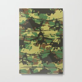 Military Camoflauge Neck Gator Green Camo Helicopter Chopper Metal Print