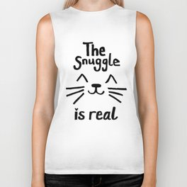 The Snuggle is Real (Black on White) Biker Tank