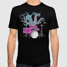 Octopus Playing Drums - Blue Black Mens Fitted Tee MEDIUM