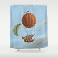 adventure Shower Curtains featuring Adventure Awaits  by Terry Fan