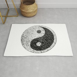 Yin Yang Distressed Symbol Rug