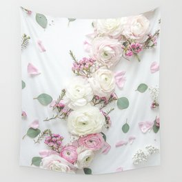 SPRING FLOWERS WHITE & PINK Wall Tapestry