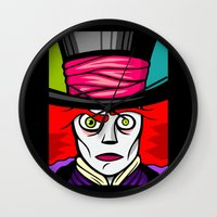 mad hatter Wall Clocks featuring Mad Hatter by Artistic Dyslexia