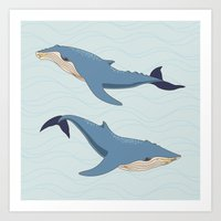 whales Art Prints featuring Whales by Evgeniya Ivanova
