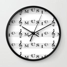 Music typography Wall Clock
