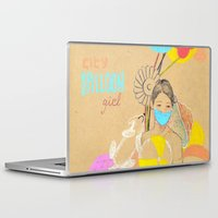 ballon Laptop & iPad Skins featuring City Ballon Girl by Albert Palen  >   albertpalendraws.com