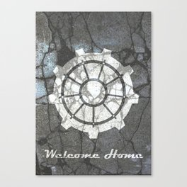 Fallout inspired welcome home, vault door, print, poster, wall art, neutral Canvas Print