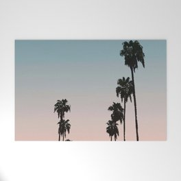 California Sunset // Palm Tree Silhouette Street View Orange and Blue Color Sky Beach Photography Welcome Mat