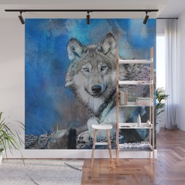 Blue Wolf Wildlife Mixed Media Art Wall Mural