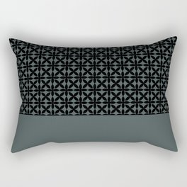 Black Square Petal Pattern on PPG Night Watch Pewter Green Rectangular Pillow