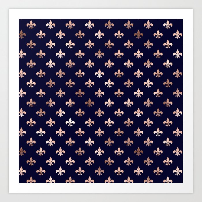 Royal Blue Rose Gold Pattern Kunstdrucke