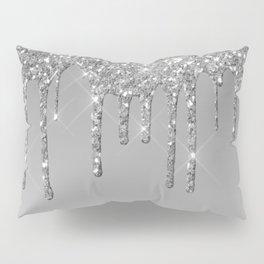 Gray & Silver Glitter Drips Pillow Sham