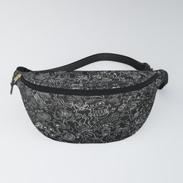 Crazy monsters in a crowded pattern Fanny Pack