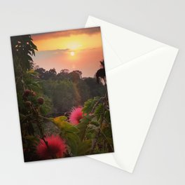 Pink Powder Puff at Sunset Stationery Cards