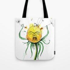Angry Flower Whimsical Art Tote Bag