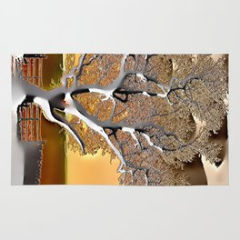 Abstract Post-Apo Landscape - Lone Tree, apocalyptic view, glowing quicksilver, orange, brown colors Rug