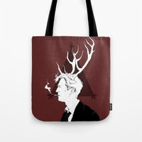 true detective Tote Bags featuring True Detective by Burcu Aycan