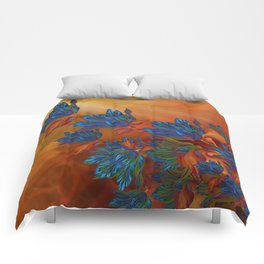 """Blue flowers on orange silk"" (Air Spring at night) Comforters"