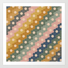 Hexagon Flowers Art Print
