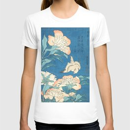 Japanese Flowers Turquoise Peach T-shirt