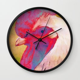 A doodle doo - Funky rooster portrait Wall Clock