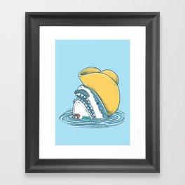 Funny Hat Shark Framed Art Print