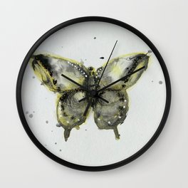 Yellow and Gray Butterfly Wall Clock