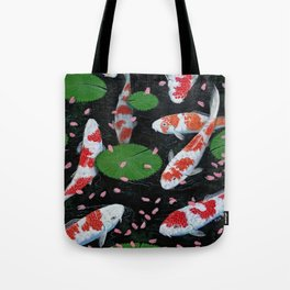 Koi With Fallen Cherry Blossom Tote Bag