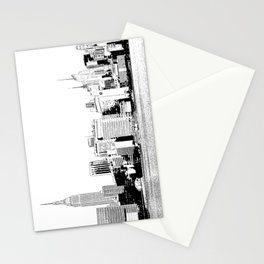 New York City Skyline _Made in NYC _Black and White Sketches of Midtown Manhattan; comic style ci Stationery Cards