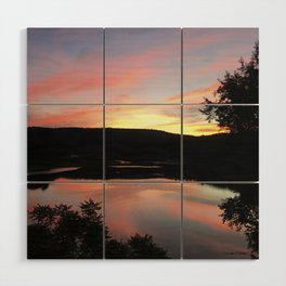 Summer Solstice Sunset Across The Big Eddy Wood Wall Art