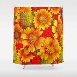 RED & YELLOW WILDFLOWERS ON RED GARDEN COLOR ART Shower Curtain