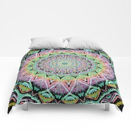 Black Pastel Mandala 012018 Comforters