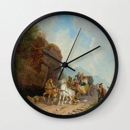 BÜRKEL, HEINRICH (Pirmasens 1802 - 1869 Munich) The coach ambush. Wall Clock