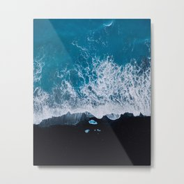 Abstract and minimalist black sand beach in Iceland with chunks of Ice and waves - moody Landscapes Metal Print