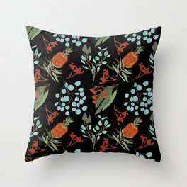 Australian Botanicals - Black Throw Pillow
