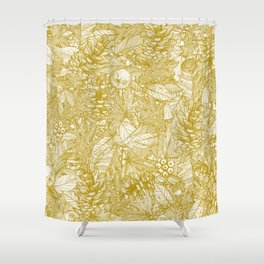 forest floor gold ivory Shower Curtain