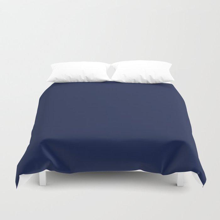 Navy Blue Minimalist Solid Color Block Bettbezug
