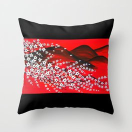 crimson and black Throw Pillow
