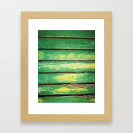 Photo of wooden texture in green and yellow for wallarts, furnitures, fashion items, tables. Framed Art Print