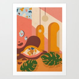 Still life with leaves, eye and desert colors Art Print
