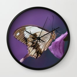 Pretty butterfly on pink flower Wall Clock