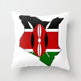 Kenya Map with Kenyan Flag Throw Pillow