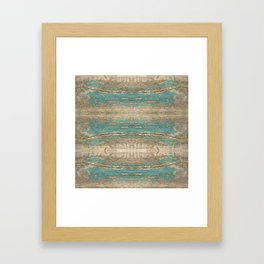 Rustic Wood - Beautiful Weathered Wooden Plank - knotty wood weathered turquoise paint Framed Art Print