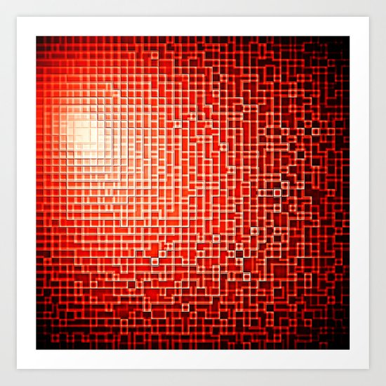 Red Space Pixels Art Print