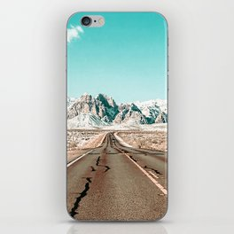 Vintage Desert Road // Winter Storm Red Rock Canyon Las Vegas Nature Scenery View iPhone Skin