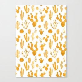 Golden cactus collection Canvas Print